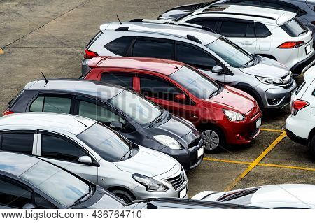 Car Parked At Parking Lot Of The Airport For Rental. Aerial View Of Eco Car Parking Lot Of Airport.
