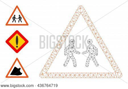 Web Carcass Men Meeting Warning Vector Icon, And Additional Icons. Flat 2d Carcass Created From Men