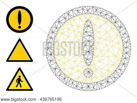 Web Carcass Warning Circle Vector Icon, And Source Icons. Flat 2d Model Created From Warning Circle