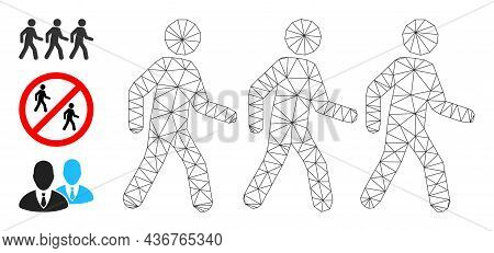 Web Mesh Pedestrian People Vector Icon, And Other Icons. Flat 2d Carcass Created From Pedestrian Peo