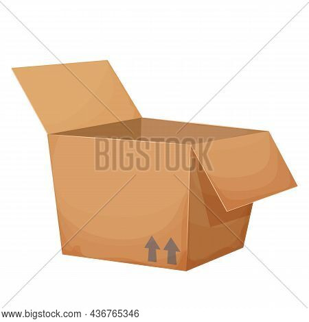 Open Cardboard Box In Cartoon Style Isolated On White Background. Gift, Surprise Or Deliver. Transpo