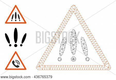 Web Net Multiple Danger Sign Vector Icon, And Bonus Icons. Flat 2d Carcass Created From Multiple Dan