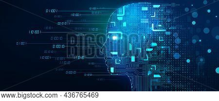 Machine Learning And Cyber Mind Domination. Face With Circuit Board And Binary Data Flow. Digital Br