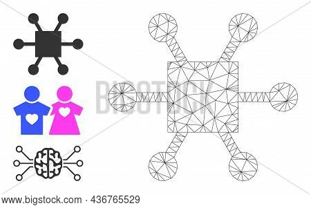 Web Carcass Nodes Hub Vector Icon, And Additional Icons. Flat 2d Carcass Created From Nodes Hub Pict