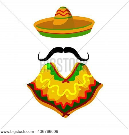 Poncho. Red And Orange Mexican Cape. National Dress. Latin Costume. Sombrero Hat And Mustache. Flat