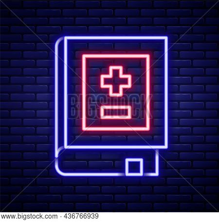 Glowing Neon Line Book With Mathematics Icon Isolated On Brick Wall Background. Math Book. Education