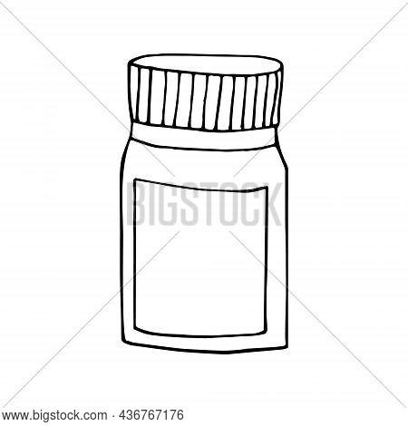 Jar With Medicine Hand Drawn Doodle. Vector, Scandinavian, Nordic, Minimalism, Monochrome. Icon, Sti