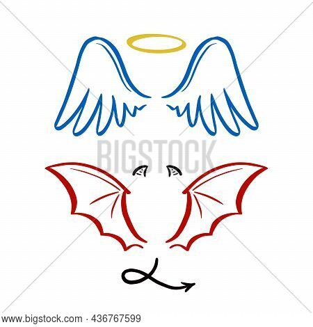 Angel And Devil Stylized Vector Illustration. Angel With Wing, Halo. Devil With Wing And Tail. Hand