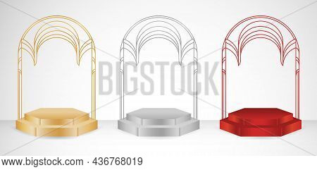 3d Model Podium Display Stage Rounded Arch. Illustration 3 Set Of Stage. Applicable For Web Banner,