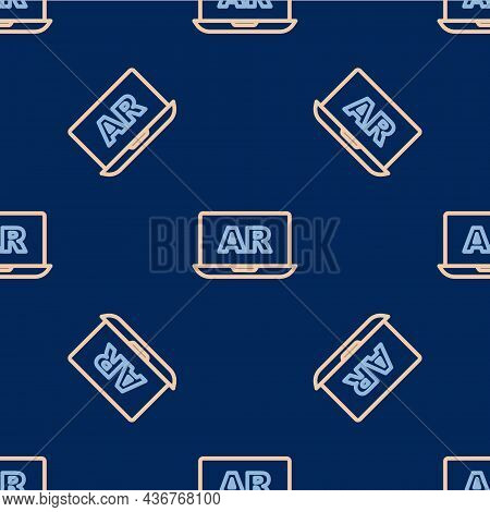 Line Augmented Reality Ar Icon Isolated Seamless Pattern On Blue Background. Virtual Futuristic Wear