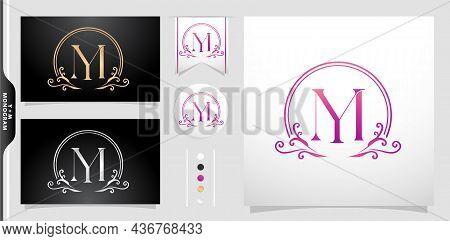 Illustration Of A Emblem Monogram, Set Of Label Initial Ym Or My Letter, Circle Gold Frame Border Wi