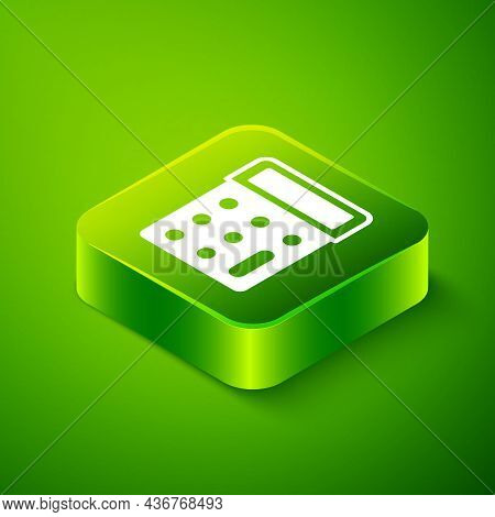 Isometric Calculator Icon Isolated On Green Background. Accounting Symbol. Business Calculations Mat