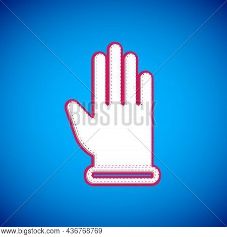 White Rubber Gloves Icon Isolated On Blue Background. Latex Hand Protection Sign. Housework Cleaning