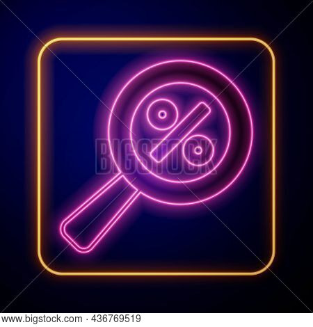 Glowing Neon Magnifying Glass With Percent Discount Icon Isolated On Black Background. Discount Offe
