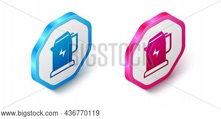 Isometric Electric Kettle Icon Isolated On White Background. Teapot Icon. Hexagon Button. Vector