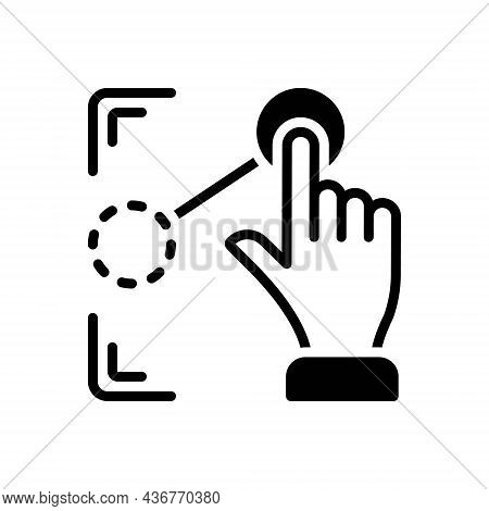 Black Solid Icon For Drag Pull Draw Move Pointer Cursor Extend