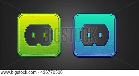 Green And Blue Electrical Outlet Icon Isolated On Black Background. Power Socket. Rosette Symbol. Ve