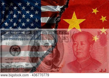 American flag and China Chinese flag with crack symbolizing strained relationship dollar and yen money