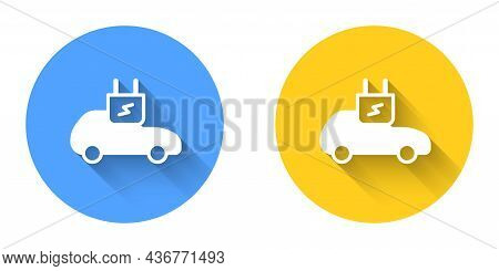White Electric Car And Electrical Cable Plug Charging Icon Isolated With Long Shadow Background. Ren
