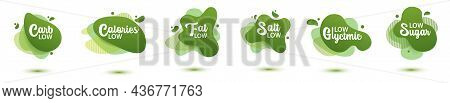 Sticker Low Badge. Set, Green Amoeba Design Of Sticker For Diet Menu, Poster, Flyer, Food Packaging.