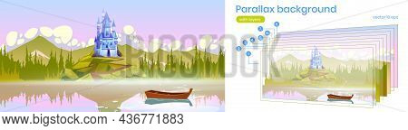 Parallax Background For Game Magic Castle On Mountain Top Near The River With Boat On Water Surface