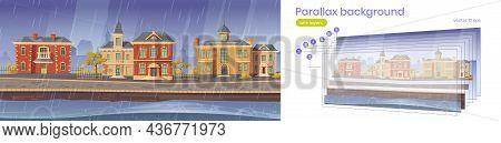 Parallax Background 2d Vintage City At Rainy Weather, Retro Cityscape Autumn Street With European Co