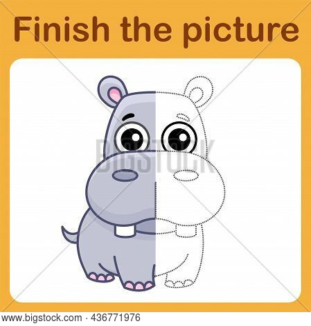 Connect The Dot And Complete The Picture. Simple Coloring Hippo. Drawing Game For Children