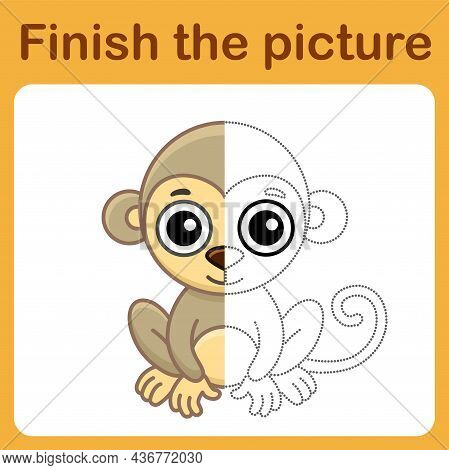 Connect The Dot And Complete The Picture. Simple Coloring Monkey. Drawing Game For Children