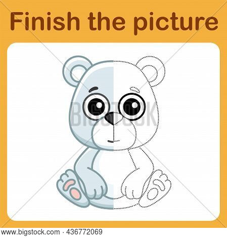 Connect The Dot And Complete The Picture. Simple Coloring Polar Bear. Drawing Game For Children