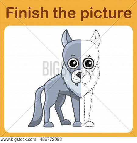 Connect The Dot And Complete The Picture. Simple Coloring Wolf. Drawing Game For Children