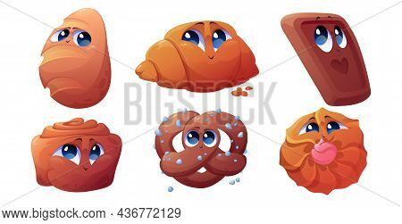 Cartoon Bakery Characters, Cheerful Croissant, Bun, Cinnabon And Chocolate Cookie With Pretzel Funny