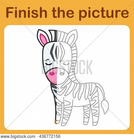 Connect The Dot And Complete The Picture. Simple Coloring For Children. Drawing Game