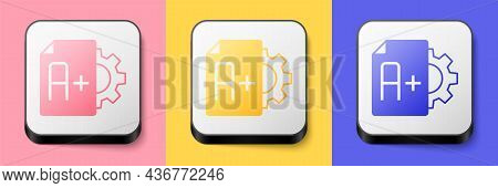 Isometric Exam Sheet With A Plus Grade Icon Isolated On Pink, Yellow And Blue Background. Test Paper