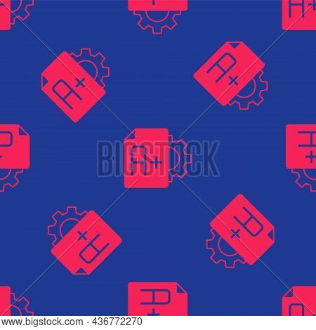 Red Exam Sheet With A Plus Grade Icon Isolated Seamless Pattern On Blue Background. Test Paper, Exam