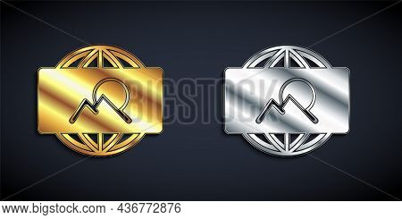 Gold And Silver Wide Angle Picture Icon Isolated On Black Background. Panorama View. Long Shadow Sty