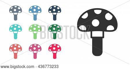 Black Psilocybin Mushroom Icon Isolated On White Background. Psychedelic Hallucination. Set Icons Co