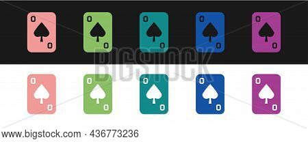 Set Playing Cards Icon Isolated On Black And White Background. Casino Gambling. Vector