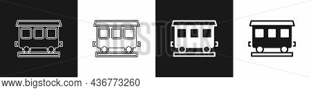 Set Passenger Train Cars Icon Isolated On Black And White Background. Railway Carriage. Vector