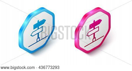 Isometric Road Traffic Sign. Signpost Icon Isolated On White Background. Pointer Symbol. Isolated St