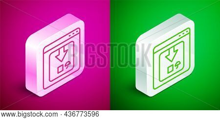 Isometric Line Online App Delivery Tracking Icon Isolated On Pink And Green Background. Parcel Track