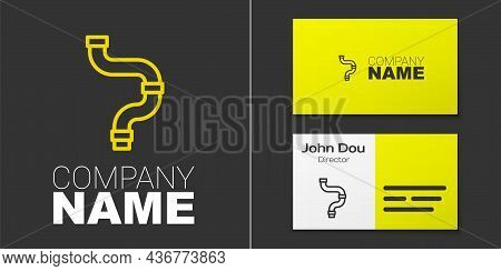 Logotype Line Industry Metallic Pipe Icon Isolated On Grey Background. Plumbing Pipeline Parts Of Di