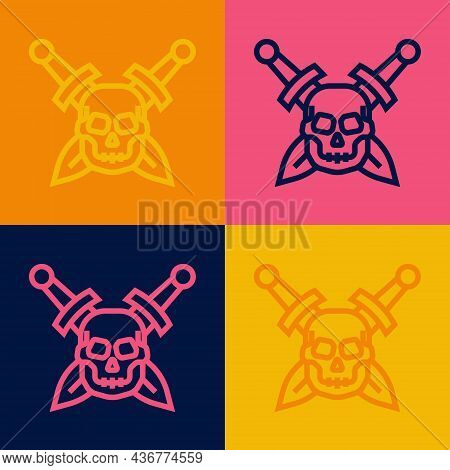 Pop Art Line Crossed Medieval Sword With Skull Icon Isolated On Color Background. Medieval Weapon. V