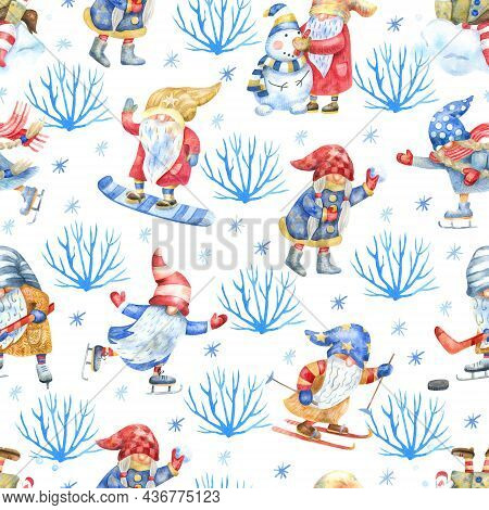 Seamless Pattern With Gnomes And Winter Activities Outdoor, Bushes And Snowflakes On White Backgroun