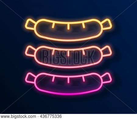 Glowing Neon Line Sausage Icon Isolated On Black Background. Grilled Sausage And Aroma Sign. Vector