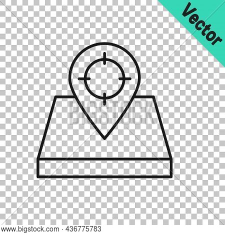 Black Line Hunt Place Icon Isolated On Transparent Background. Navigation, Pointer, Location, Map, G