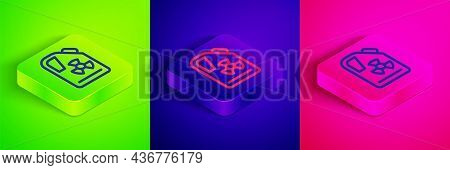 Isometric Line Radioactive Waste In Barrel Icon Isolated On Green, Blue And Pink Background. Toxic R