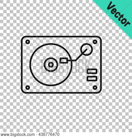 Black Line Vinyl Player With A Vinyl Disk Icon Isolated On Transparent Background. Vector