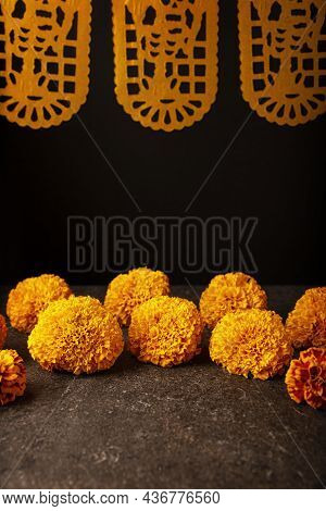Cempasuchil Orange Flowers Or Marigold. (tagetes Erecta)  And Papel Picado. Traditionally Used In Al