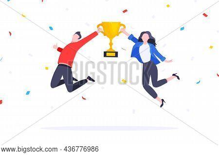 Happy Business Employee Team Winners Award Ceremony Flat Style Design Vector Illustration. Employee