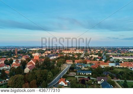 Aerial View Of Old European City. Small Town Cityscape